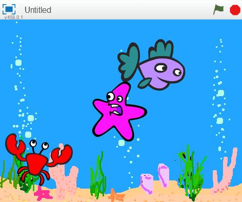 Запуск программы: рыба, краб и морская звезда